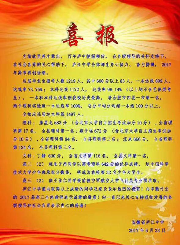 庐江中学2017高考喜报